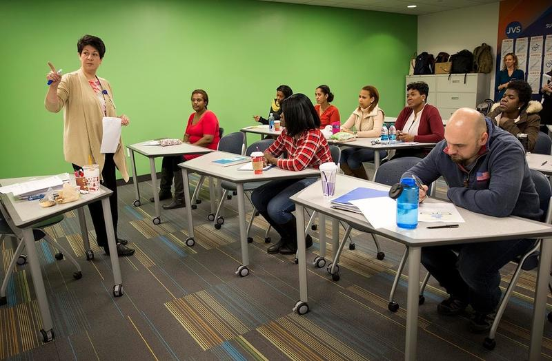Instructor Elizabeth Hogan leads a healthcare class at Jewish Vocational Service in Boston.