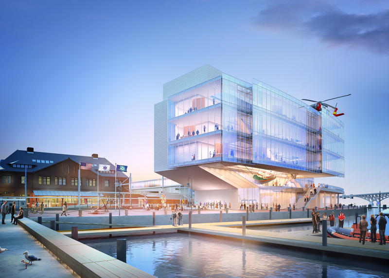 Architectural rendering of how the new Coast Guard Museum might look viewed from the City Pier