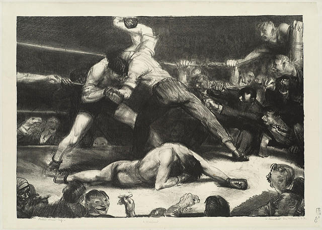 """A Knock-Out (Incident of the Ring)"", drawing by George Bellows."