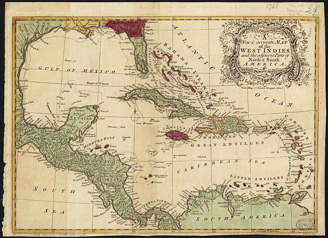 1755 map of the Caribbean by author Richard William Seale and publisher John Hilton