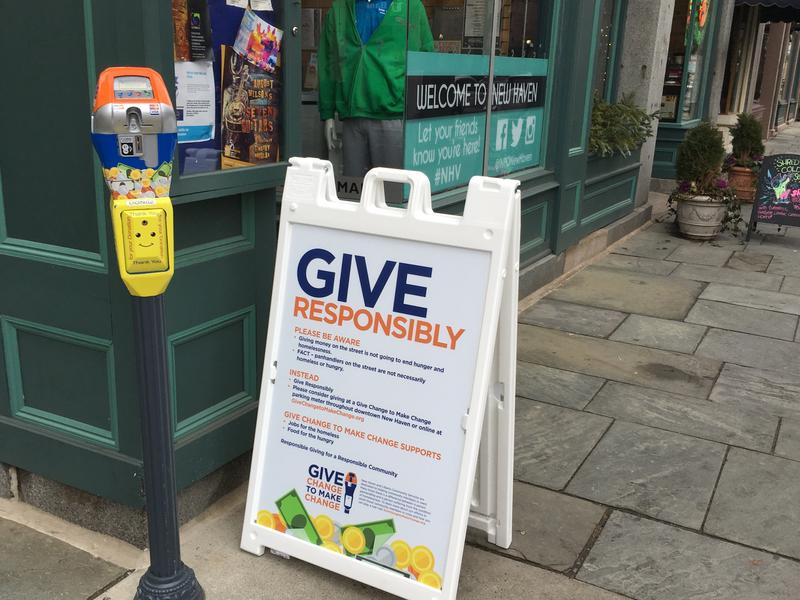 A donation meter in downtown New Haven