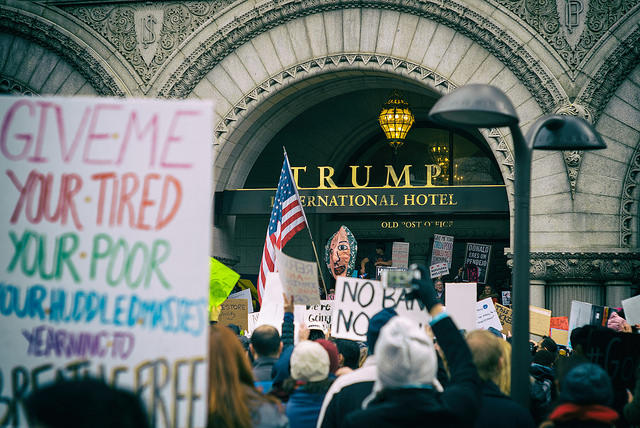 Protester at Trump International Hotel