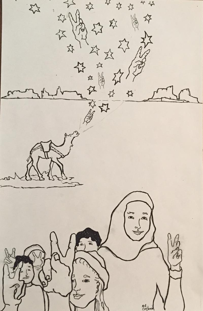 One of Melissa Croghan's coloring book drawings for refugee children