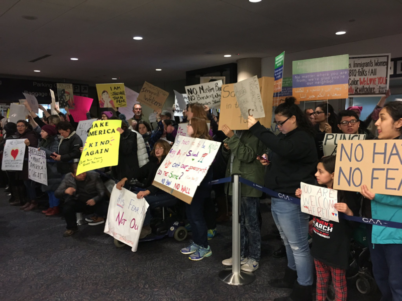 Demonstrations against President Trump's executive order at Bradley International Airport.