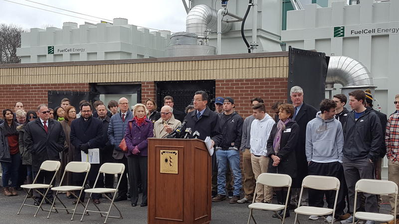 Gov. Dan Malloy and others at the microgrid ribbon-cutting ceremony.