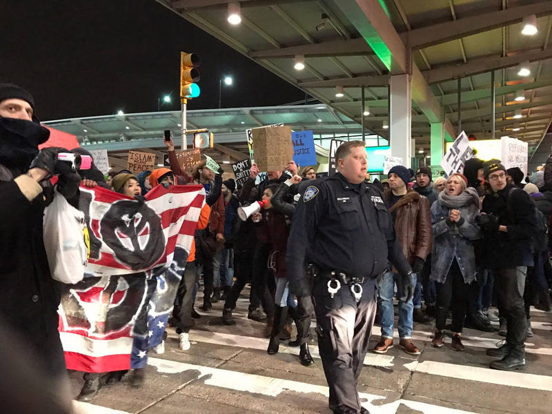 People gathered at John F. Kennedy International Airport to protest President Trump's executive order on refugees.