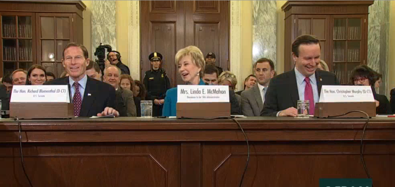 Sen. Richard Blumenthal, Linda McMahon, and Sen. Chris Murphy at McMahon's confirmation hearing Tuesday.