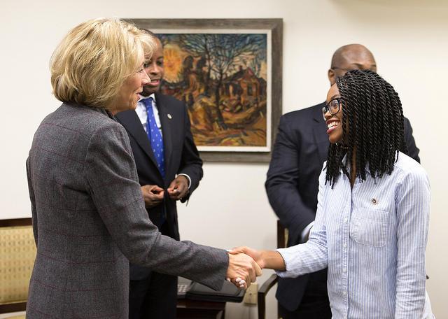 Education Secretary Betsy DeVos visits with leaders at Howard University