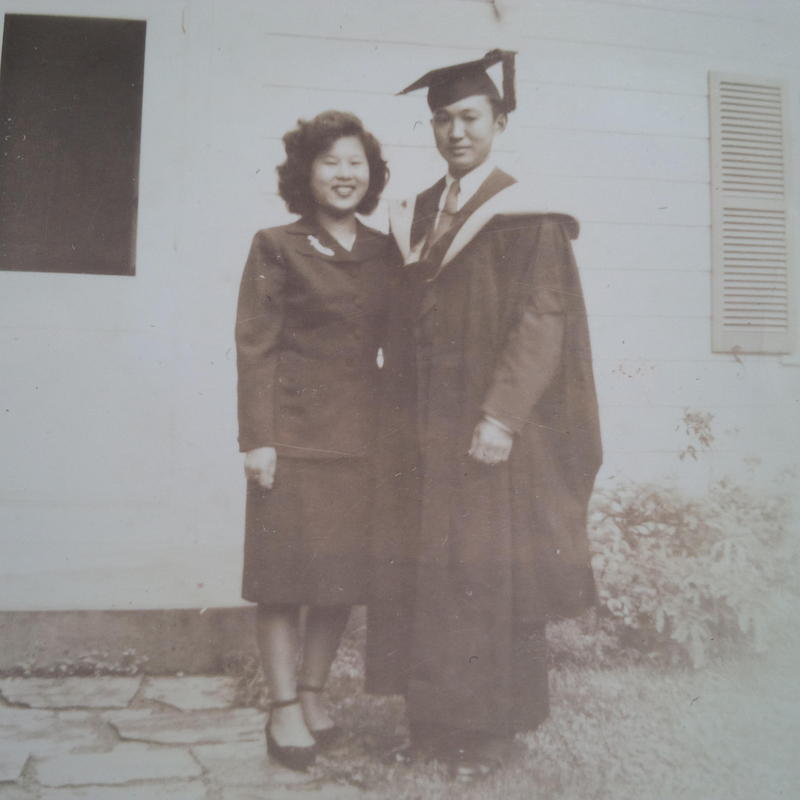 Former UConn student George Fukui with his wife Yuri in Storrs, 1948.