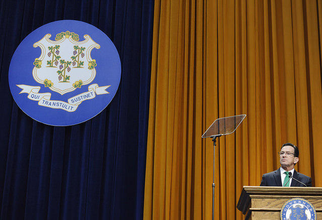 Governor Dannel Malloy speaks during his inauguration for a second term in 2015