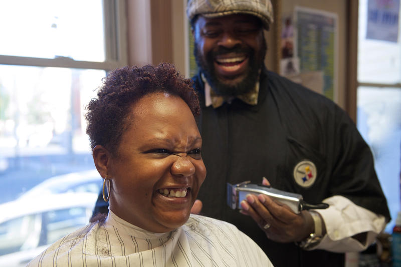 Lebert F. Lester II, Owner of It's a Gee Thang Barber Salon & Spa in Hartford, at work in his barber shop