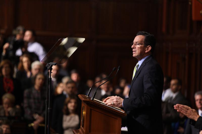 Gov. Dannel Malloy delivers his budget address to the legislature.