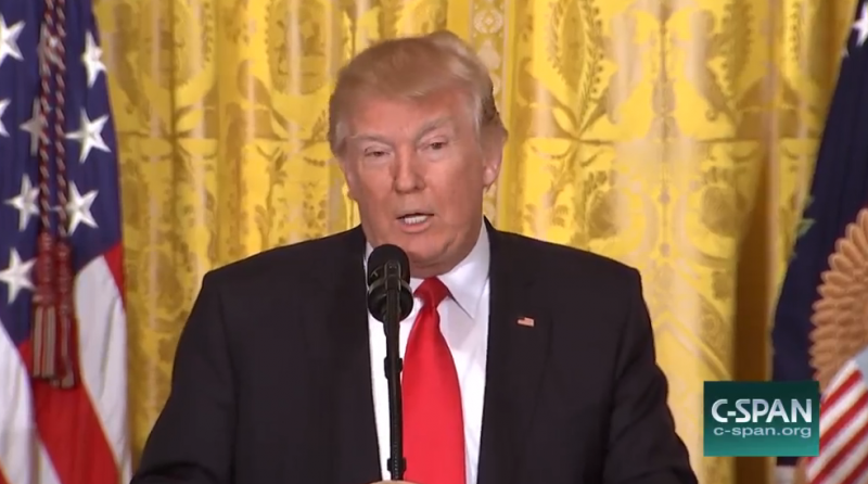 President Trump speaks to reporters on Thursday.