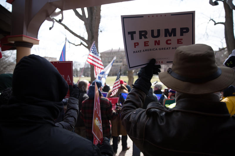 Supporters of President Donald Trump convene for a rally in Hartford's Bushnell Park on March 4, 2017.