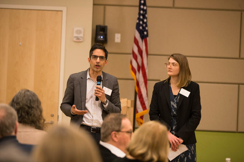 """Muneer Ahmad of Law Yale School speaks during a discussion hosted by WNPR and WSHU at Gateway Community College in New Haven about the concept of """"sanctuary."""""""