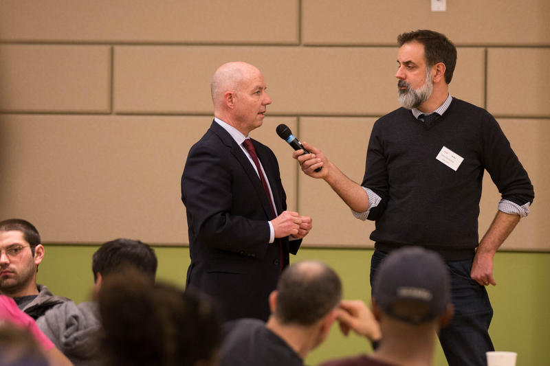 Mike Lawlor, Connecticut Undersecretary for Criminal Justice Policy and Planning, speaks to co-host John Dankosky during a discussion hosted by WNPR and WSHU at Gateway Community College in New Haven.