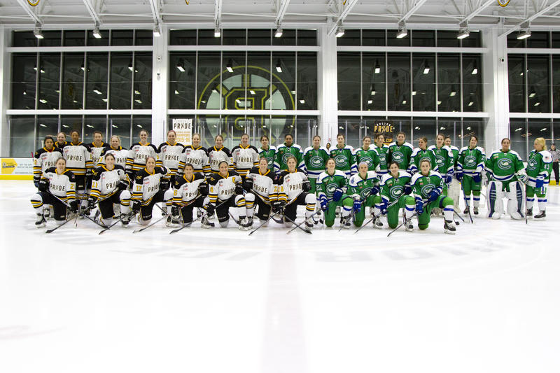 The players kneeling in front represent Team USA players from the NWHL's Boston Pride and Connecticut Whale squads.