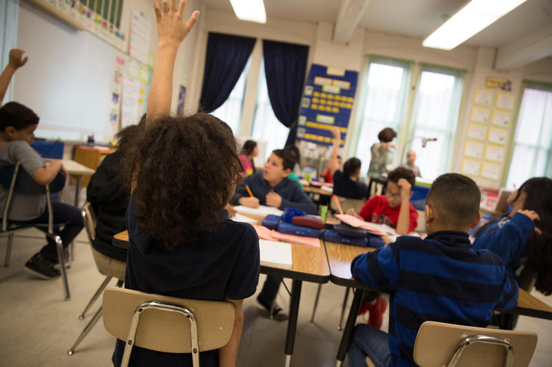 Silvana Laramee's fourth grade bilingual class at Alfred Lima Elementary School in Providence, Rhode Island.