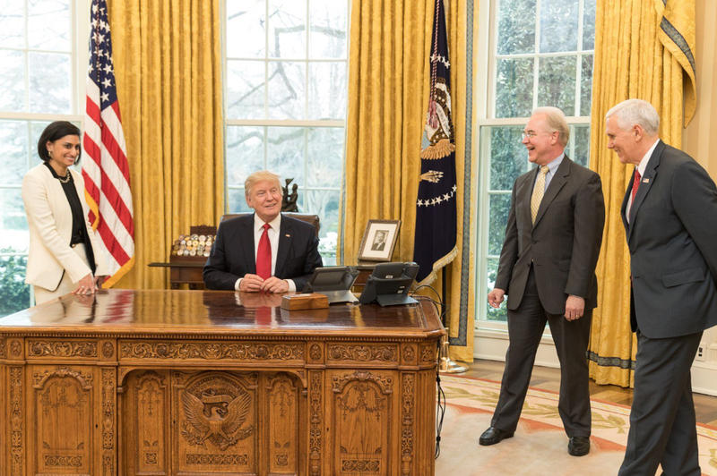 Seema Verma, Administrator for the Centers for Medicare and Medicaid Services, President Donald Trump, Health and Human Services Secretary Tom Price, and Vice President Mike Pence.