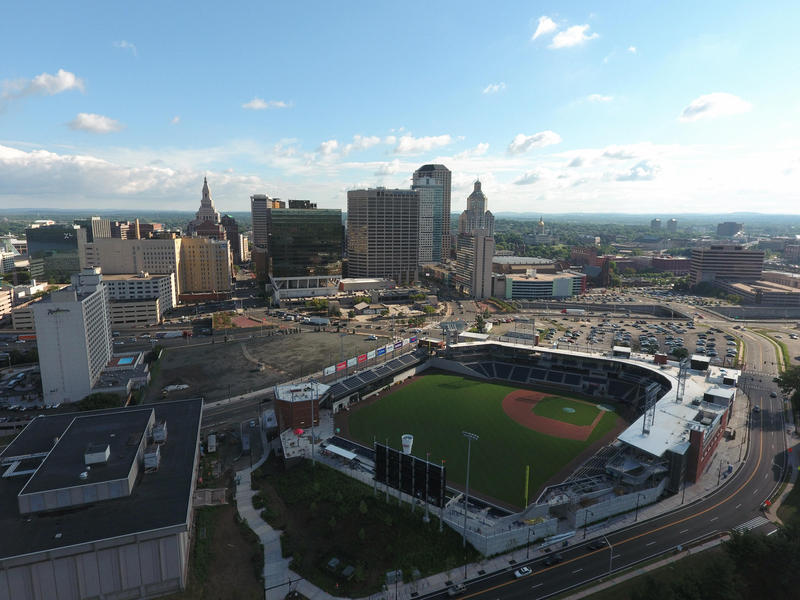 An aerial view of Dunkin' Donuts Park in Hartford during construction last year.