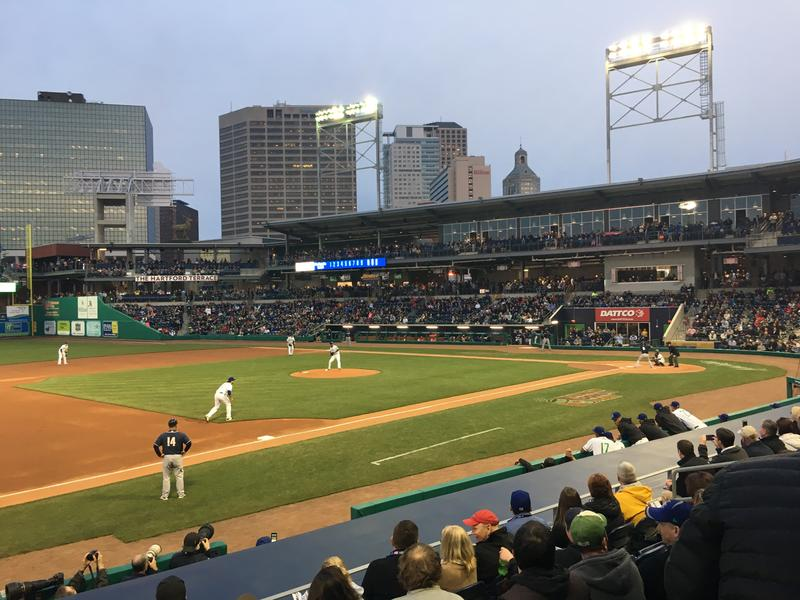 Yard Goats starting pitcher Yency Almonte throws the first professional pitch in Hartford in almost 24,000 days.