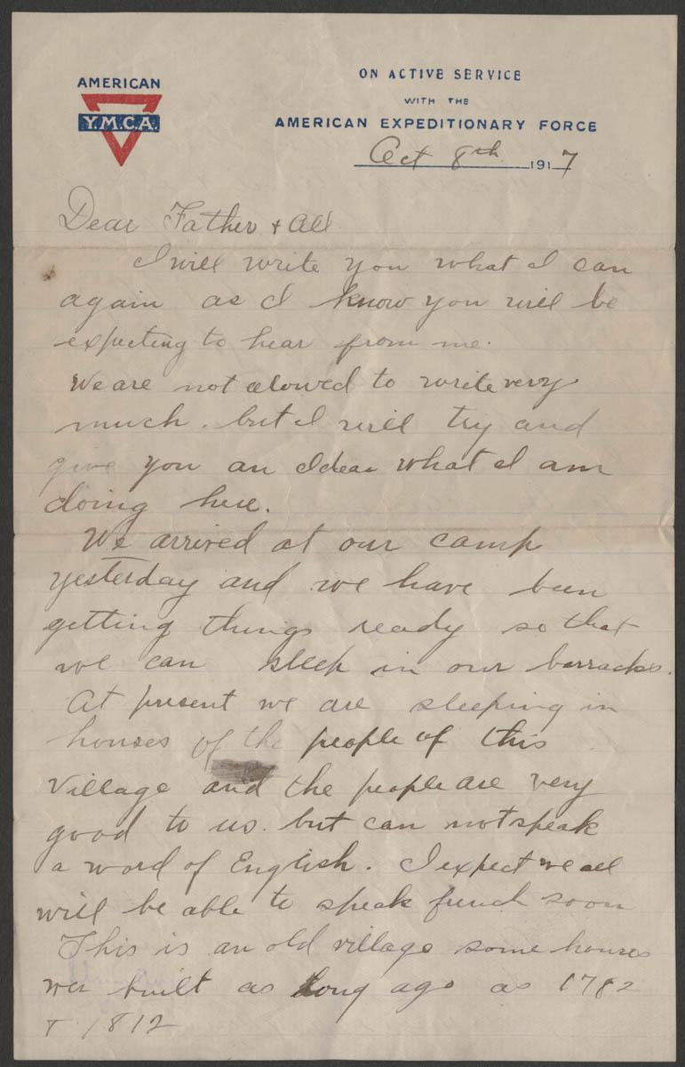 Letter home from Sgt. Paul Maynard