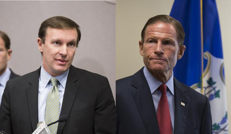 Senators Chris Murphy and Richard Blumenthal spoke in Hartford about the future of the Affordable Care Act.