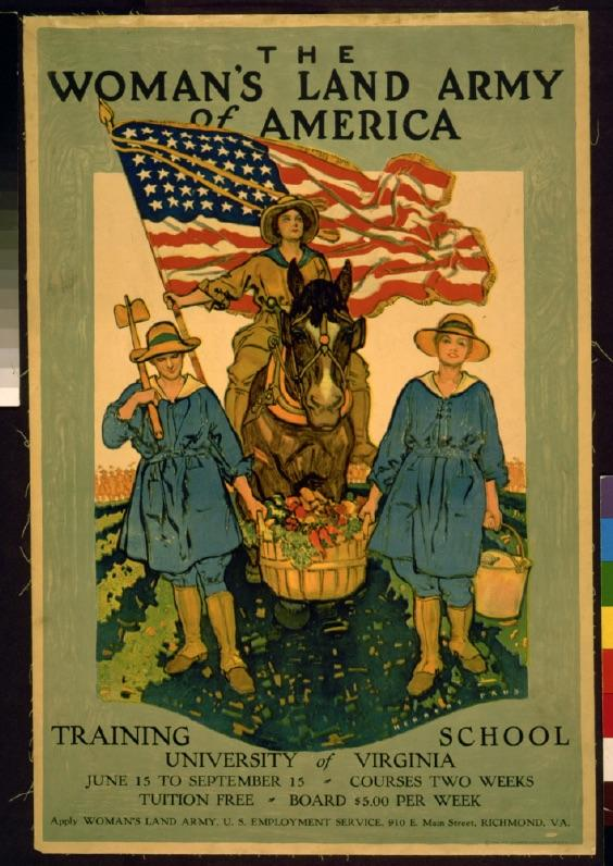 Women's Land Army Recruitment Poster, Virginia WWI