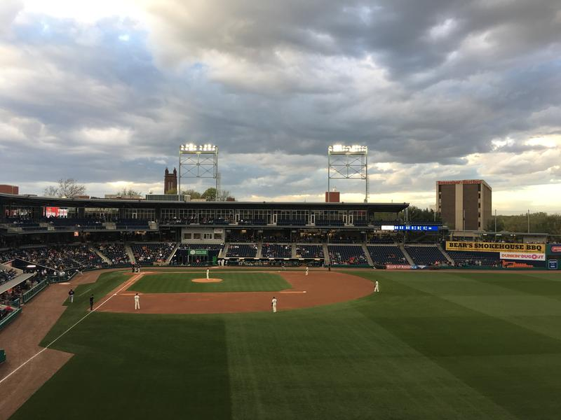 Dunkin' Donuts Park on a windy Tuesday night in early May.