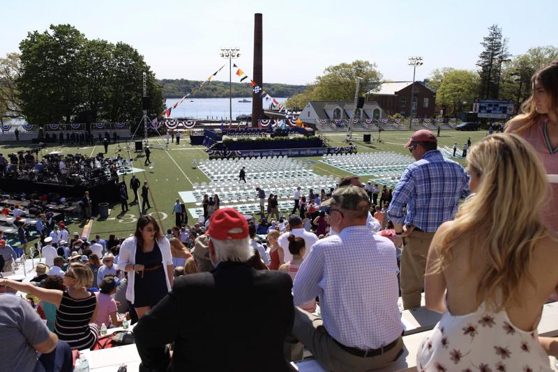The crowd waits for the commencement ceremony to begin.