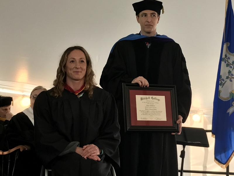 Before her speech, McFadden was surprised by Mitchell College with an honorary doctorate.