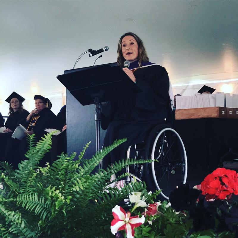 Tatyana McFadden delivered commencement address to 139 Mitchell College graduates Saturday in New London.