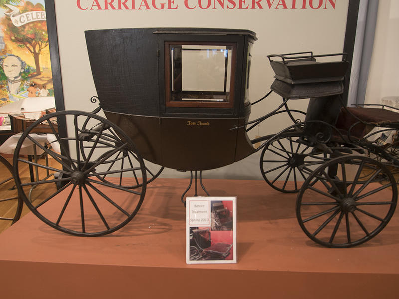 Charles Stratton would ride into town in this miniature carriage, pulled by Shetland ponies, while on tour with Barnum.