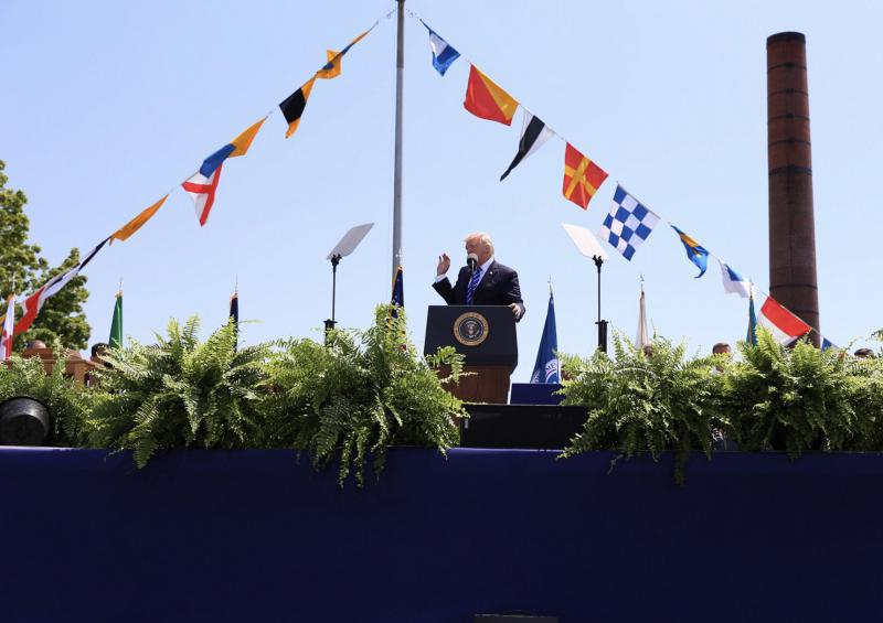 President Donald Trump speaks at the Coast Guard Academy commencement.