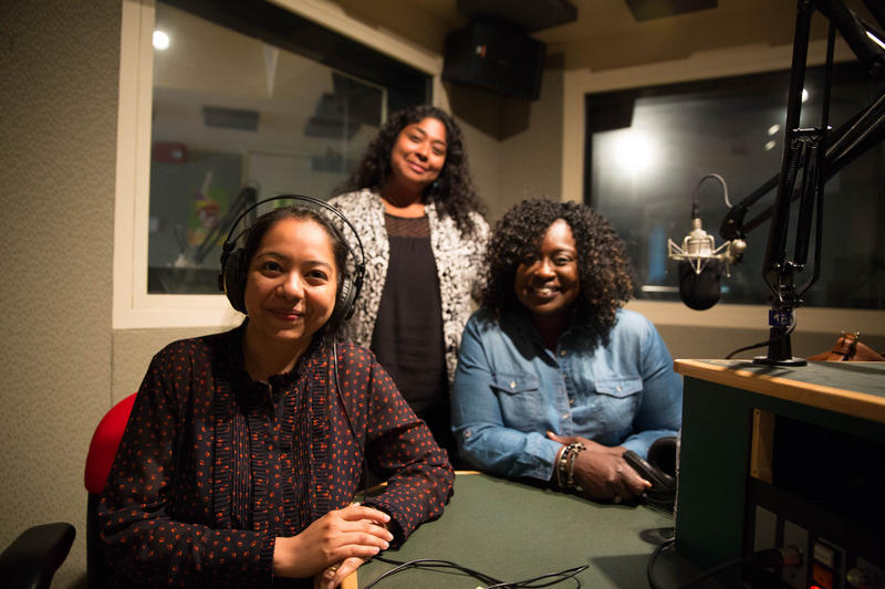 Sujata Srinivasan, freelance reporter for the Connecticut Health Investigative Team and Denise Patterson, Hartford resident, with host Lucy Nalpathanchil