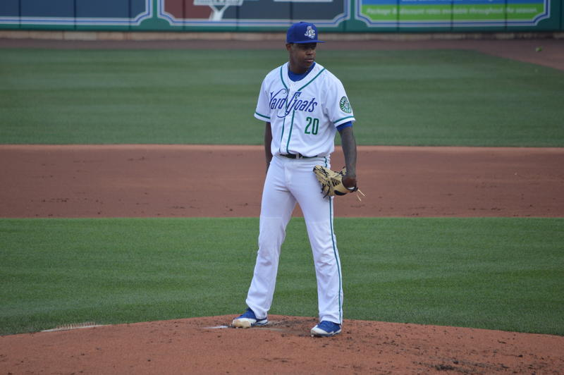 Yard Goats pitcher Yency Almonte in the home whites.