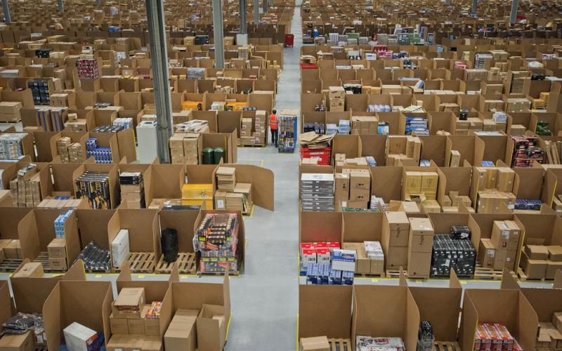 An Amazon fulfillment center in Scotland.