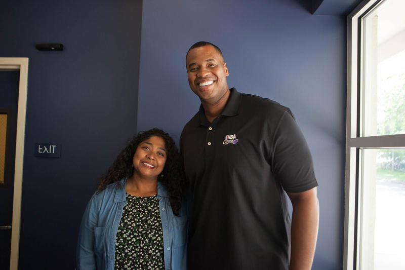 Retired NBA athlete and NBA Cares Ambassador Jason Collins with Where We Live host Lucy Nalpathanchil
