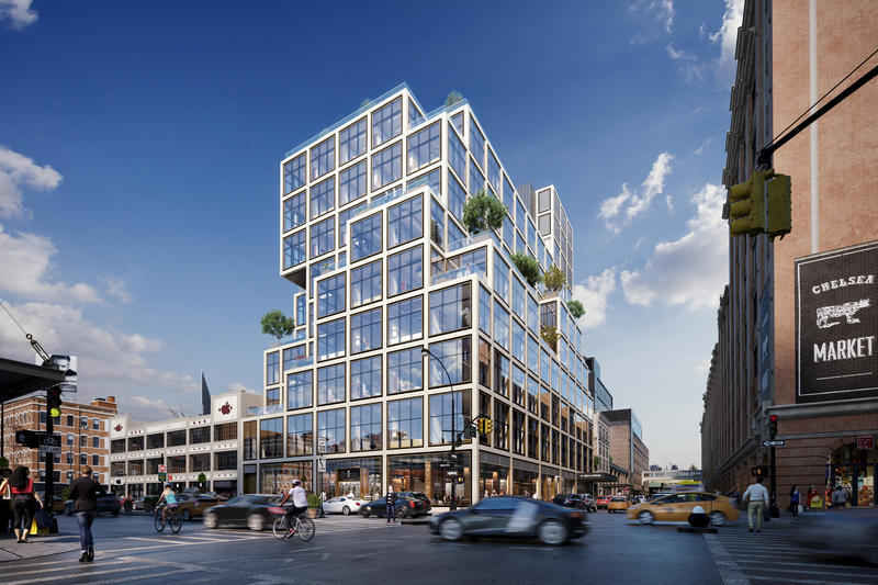 Aetna's rendering of its planned new headquarters building at 61 9th Avenue, just north of Greenwich Village.