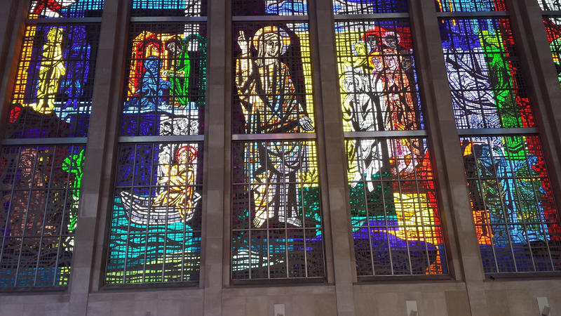 Stained glass in the Cathedral of St. Joseph in Hartford on May 19, 2014.
