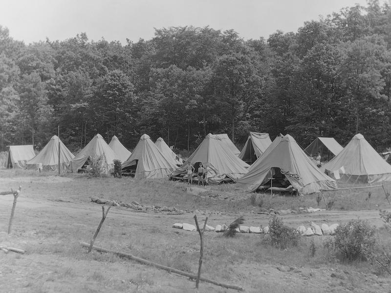 CCC tents at the Clinton, CT camp