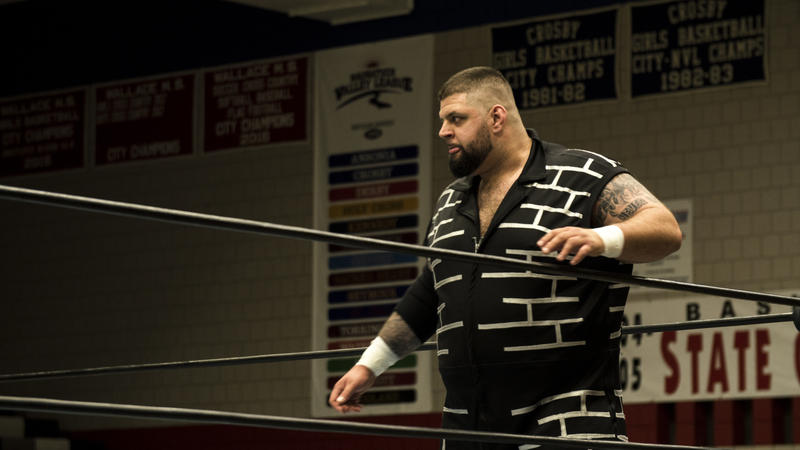 Wrecking Ball Legursky gets ready for his match at an independent show at Crosby-Waterbury High School on June 9.