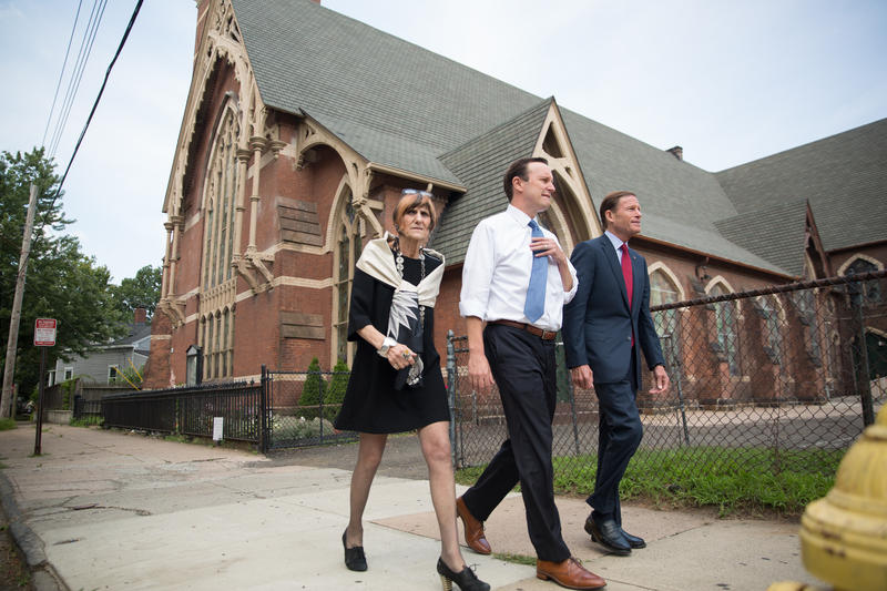 From left, Rep. Rosa DeLauro, Sen. Chris Murphy, and Sen. Richard Blumenthal outside the Iglesia De Dios Pentecostal Church in New Haven, Connecticut on Friday, July 21, 2017.