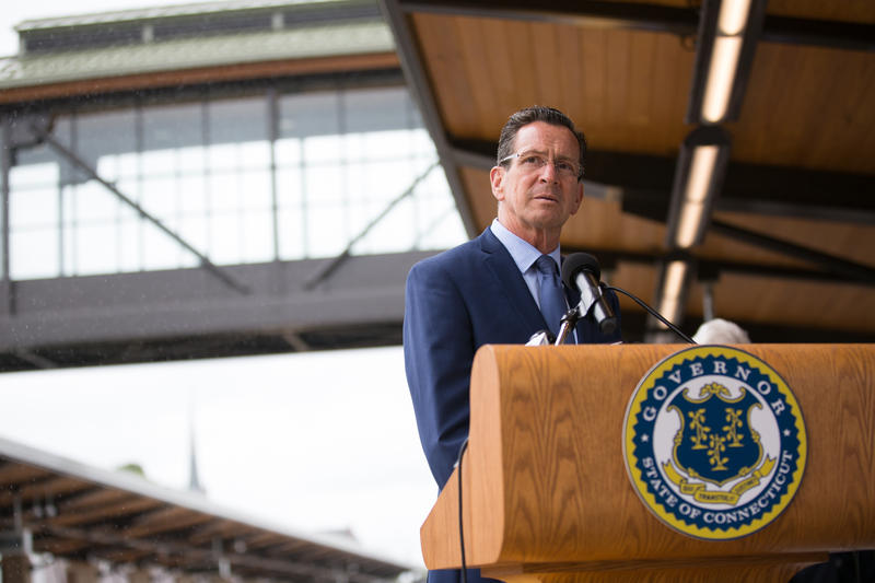 Governor Dannel Malloy at a press conference at the new Wallingford train station that will be a stop on the CTrail Hartford Line.