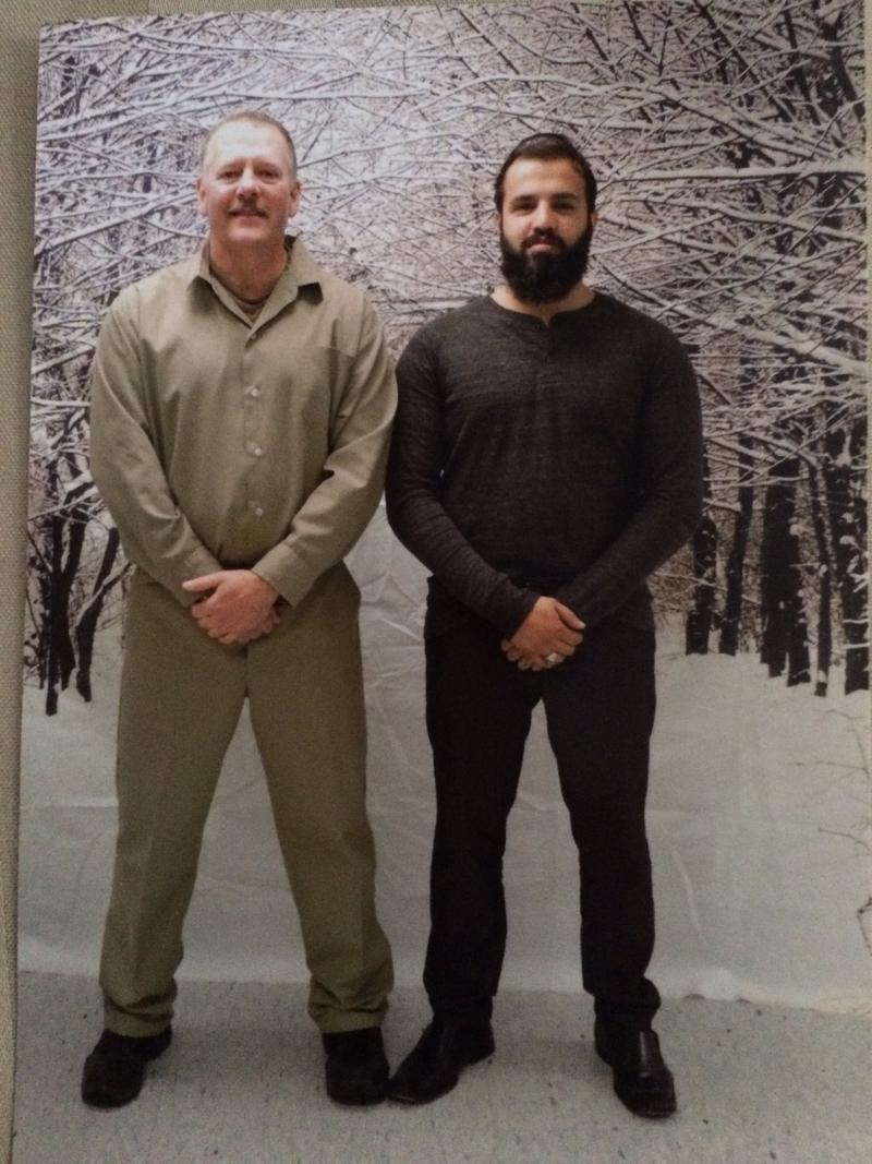 Zahir Mannan (right) visiting Ted Hakey Jr. (left) at the Federal Correctional Institution in Danbury, CT