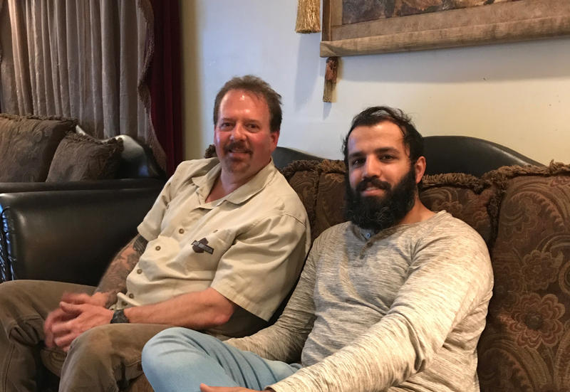 Ted Hakey Jr. and Zahir Mannan at the home of Talhaht and Manzur Mannan in Middletown, CT