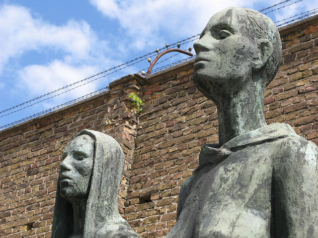 Zwei Stehende (Two Women Standing) monument at Ravensbrück Concentration Camp