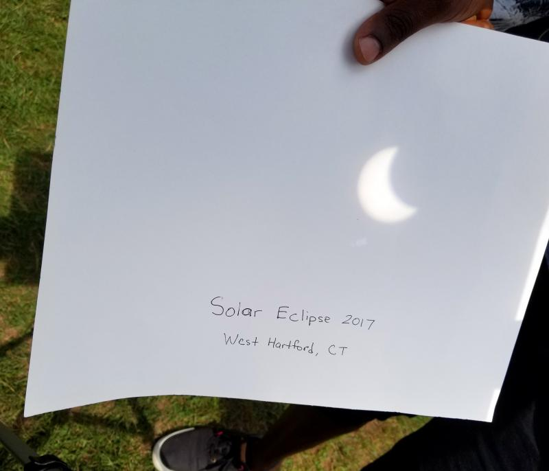 Eclipse viewers in Hartford's Elizabeth Park.
