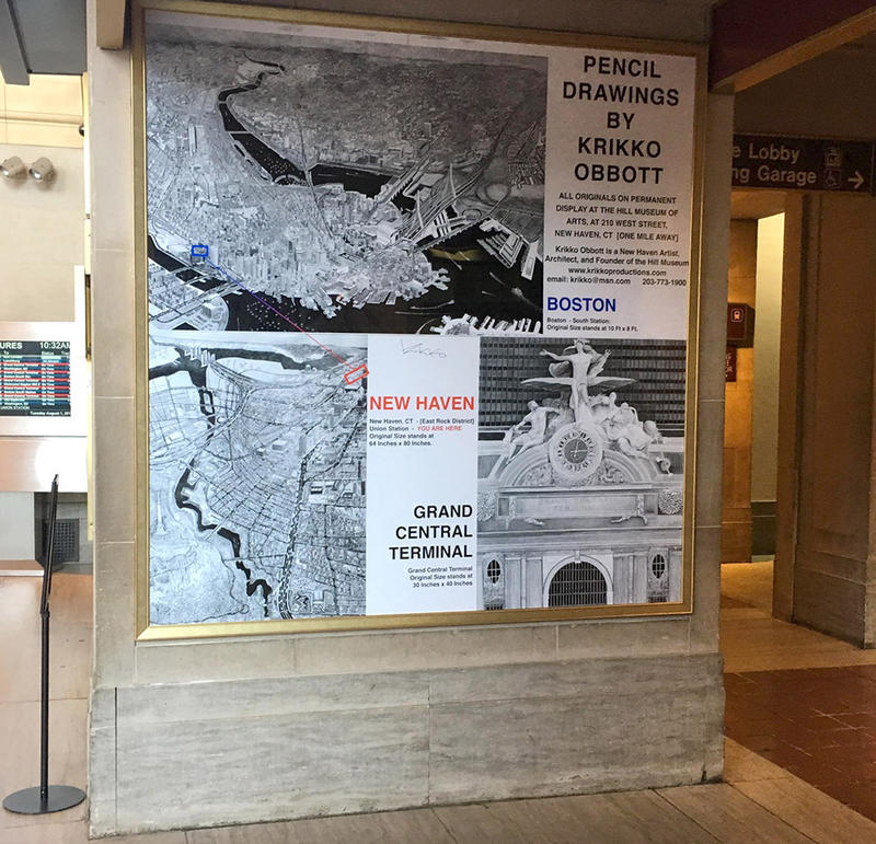 Krikko prints of detailed pencil drawings at Union Station in New Haven.