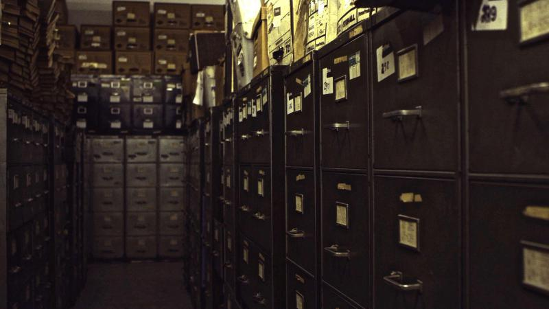 "The New York Times' morgue file cabinets in the film ""Obit."""
